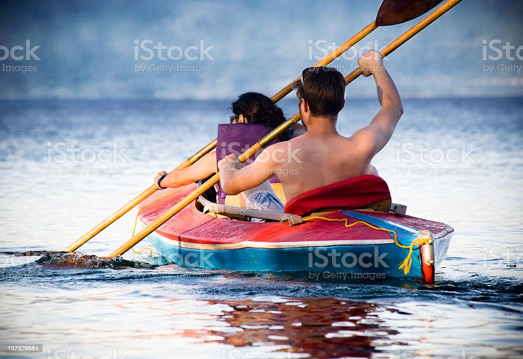 Man And Woman Kyaking on the Lake royalty-free stock photo