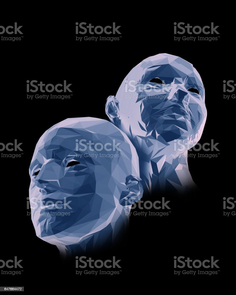 Man and woman, polygon portrait on a black stock photo
