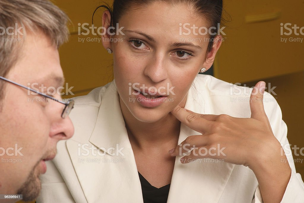 Man and woman professional dialog stock photo