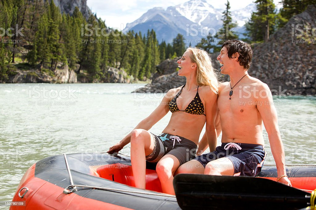 Man and Woman Rafting royalty-free stock photo
