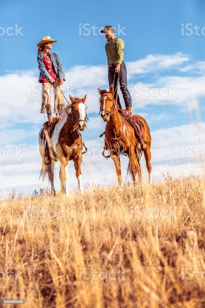 Man And Woman Standing On Two Horses stock photo