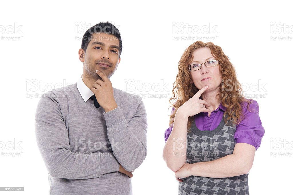 Man And Woman Standing Together. Making a Decision royalty-free stock photo