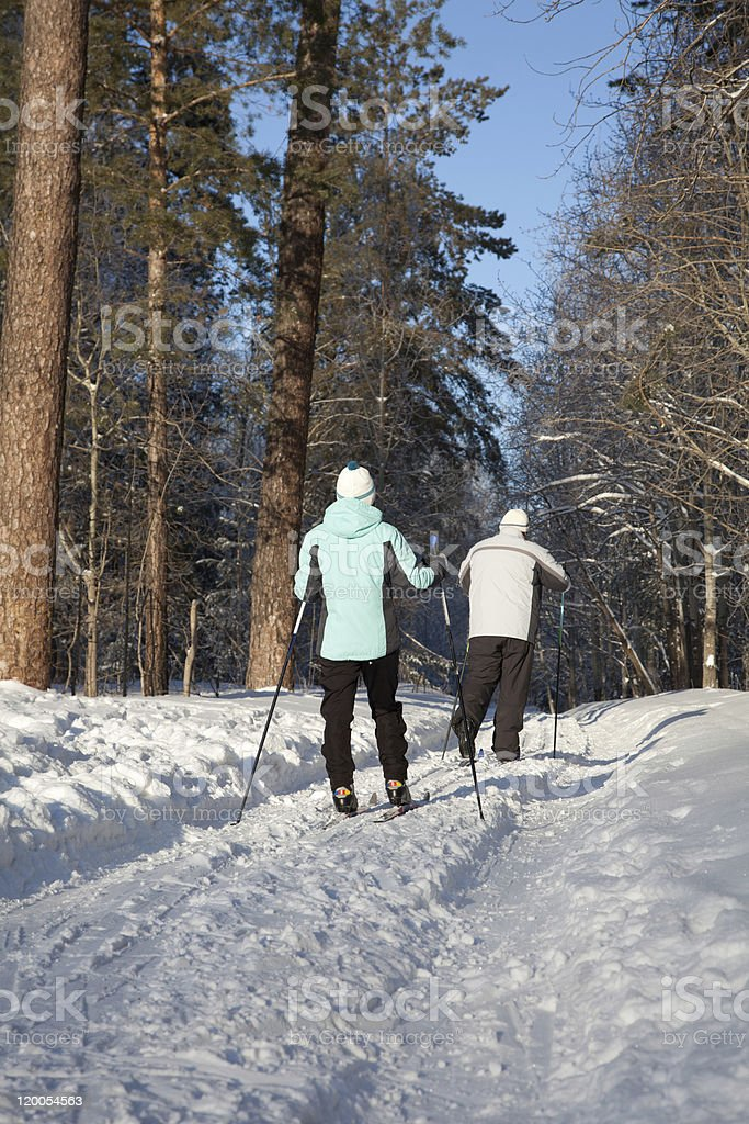 man and woman walking on ski in winter forest royalty-free stock photo