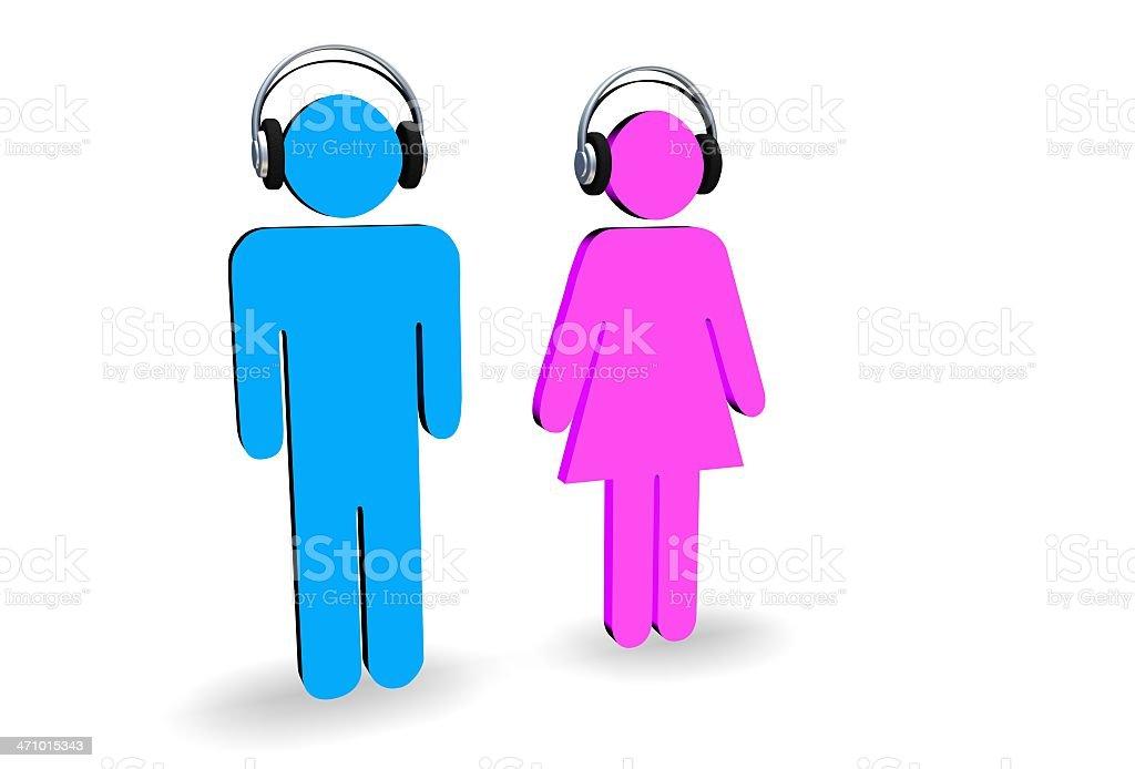 Man and Woman wearing headphones stock photo