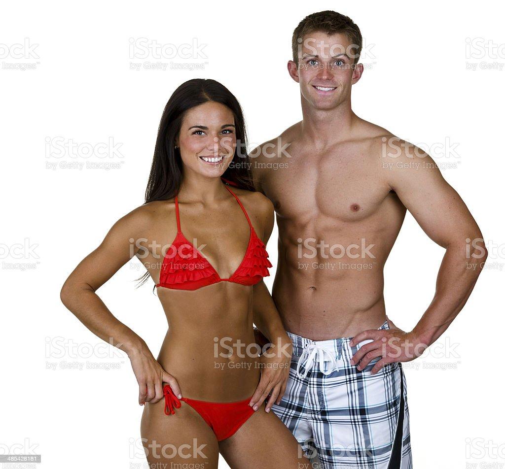 Uomo e donna con costumi da bagno foto di stock 485428181 istock - Costumi da bagno uomo con bandiere nazionali ...