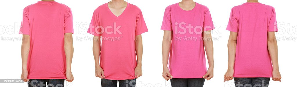 man and woman with blank t-shirt stock photo