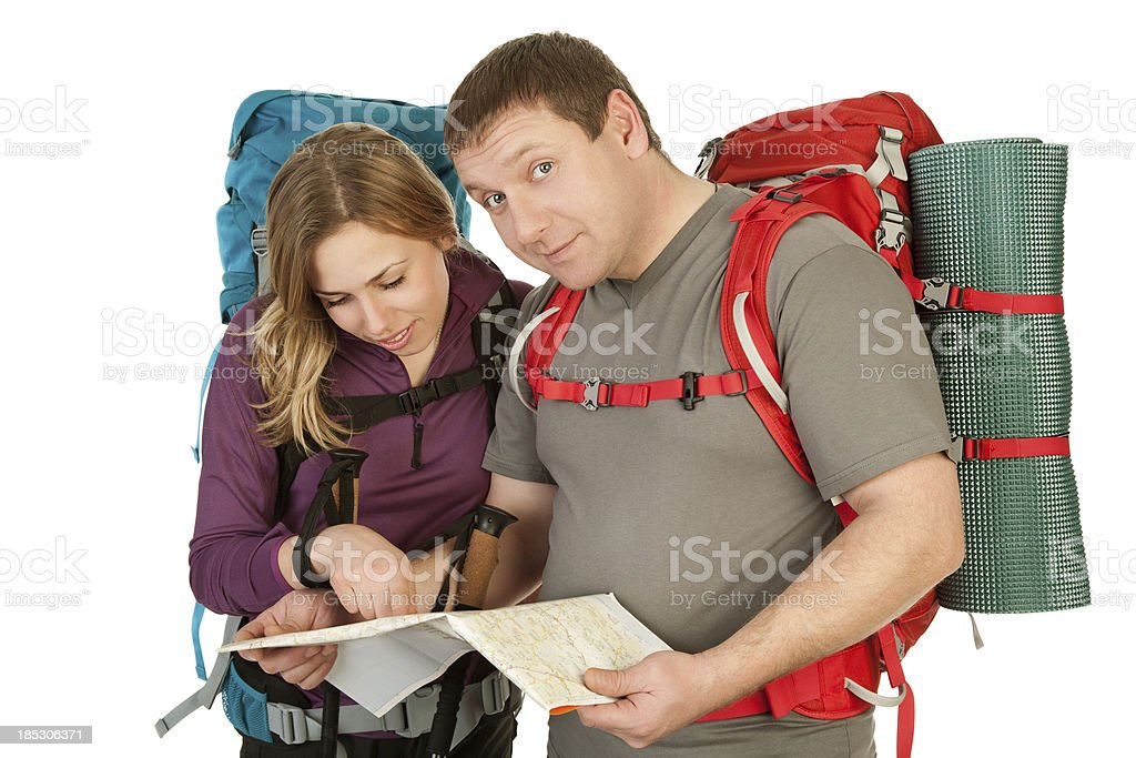 Man and Woman with map stock photo