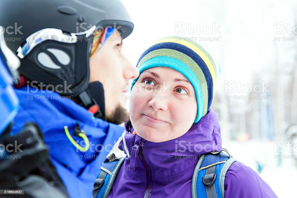 man and woman with snowboard stock photo