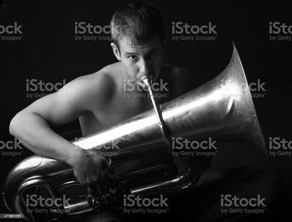 Man and woodwinds. stock photo