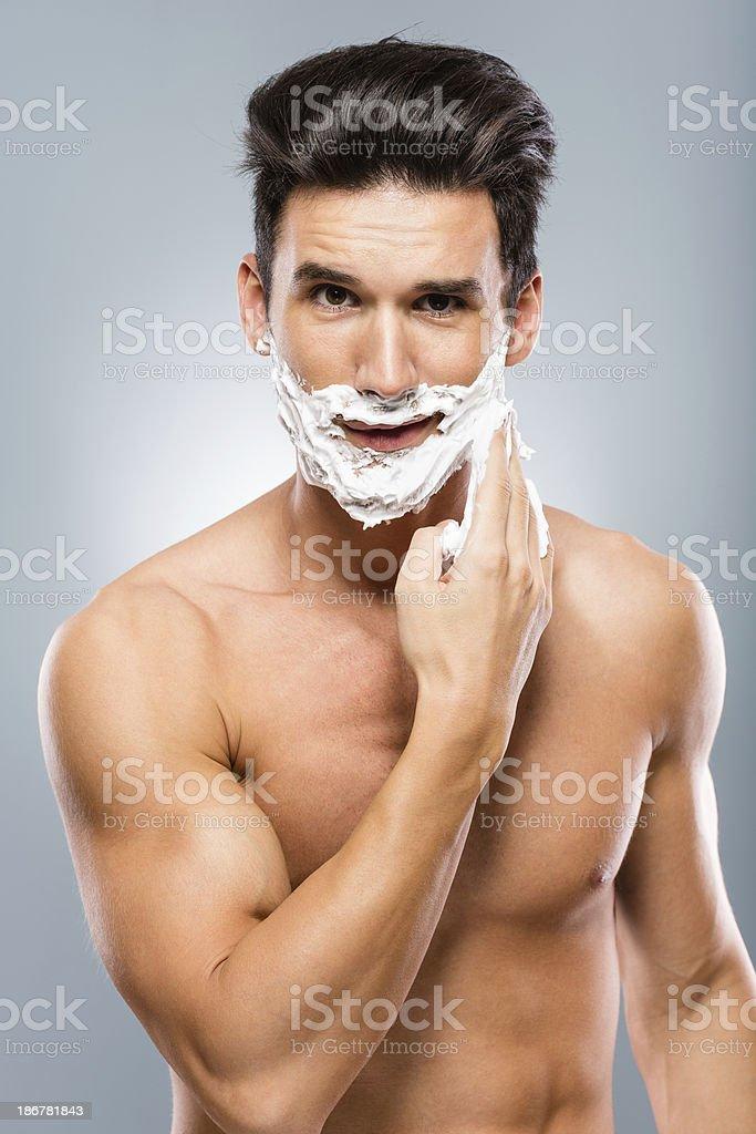 Man applying shaving cream royalty-free stock photo