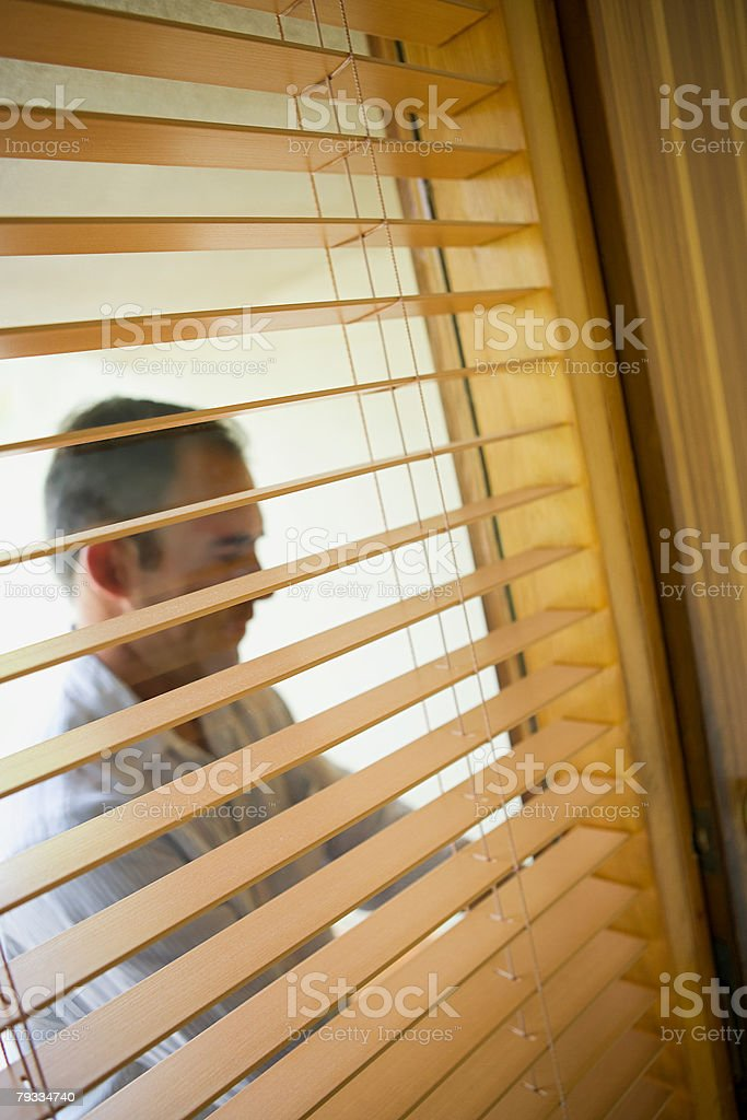 Man arriving home stock photo