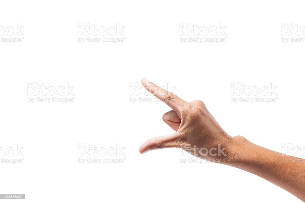 Man asia hand sign isolated on white background. stock photo