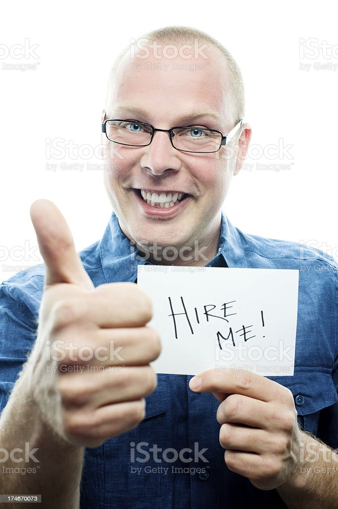 man asking to get hired royalty-free stock photo