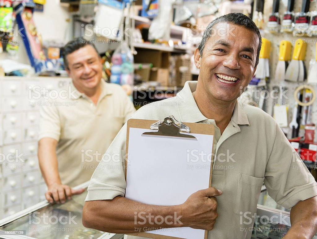 Man at a hardware store stock photo