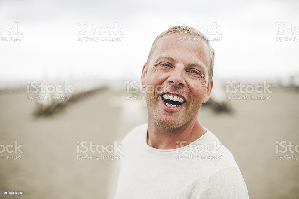 Man at beach in Italy royalty-free stock photo
