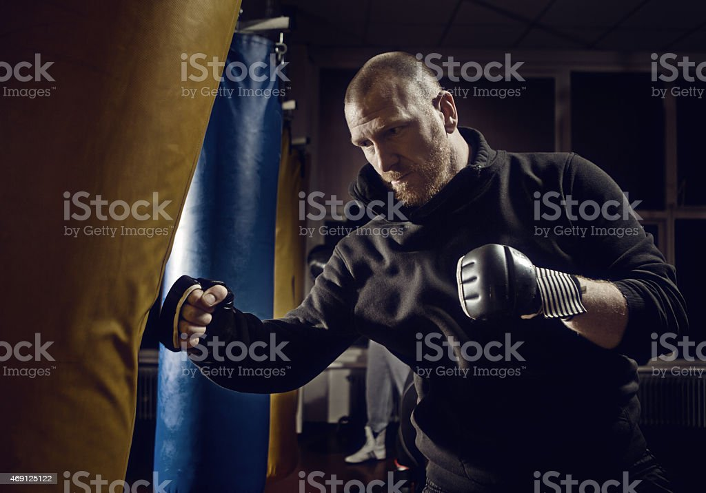 man at boxing training stock photo