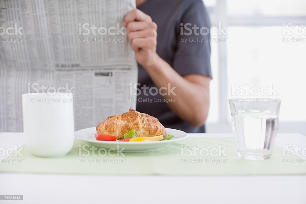 Man at breakfast royalty-free stock photo