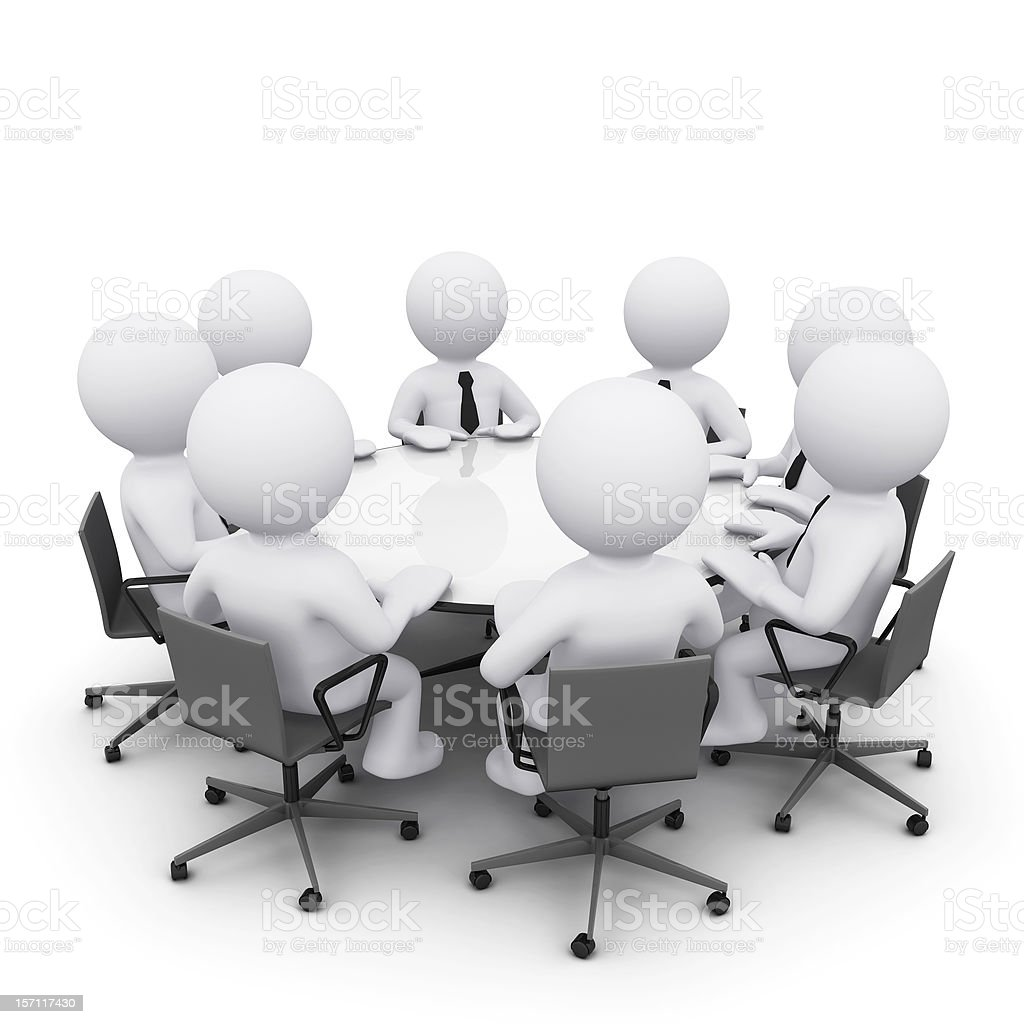 3D man at business meeting stock photo