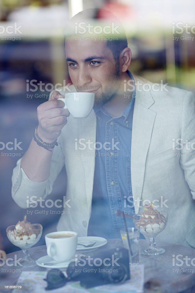 Man at cafe royalty-free stock photo