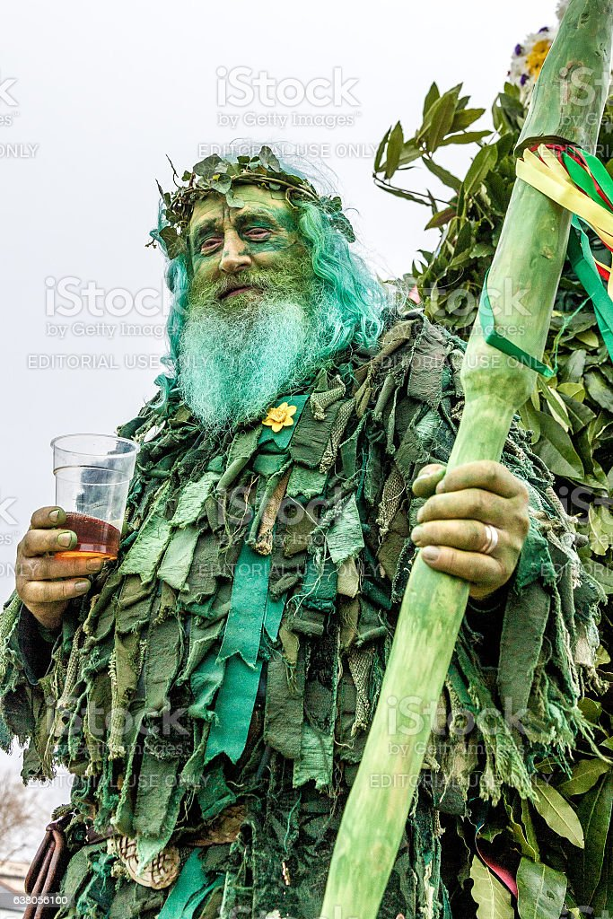 Man at Hastings' annual Jack-in-the-Green Festival, May 2016 stock photo