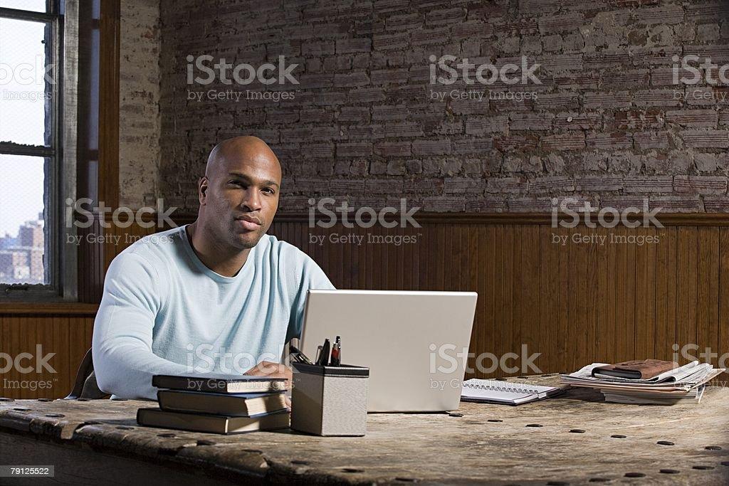 Man at his desk royalty-free stock photo