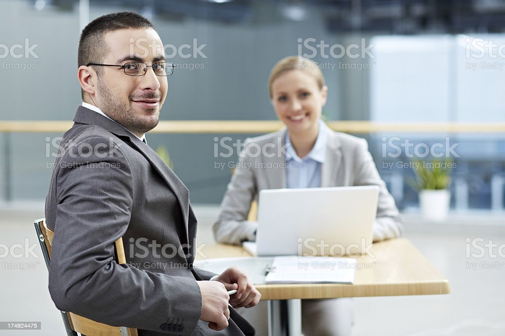 Man at meeting royalty-free stock photo