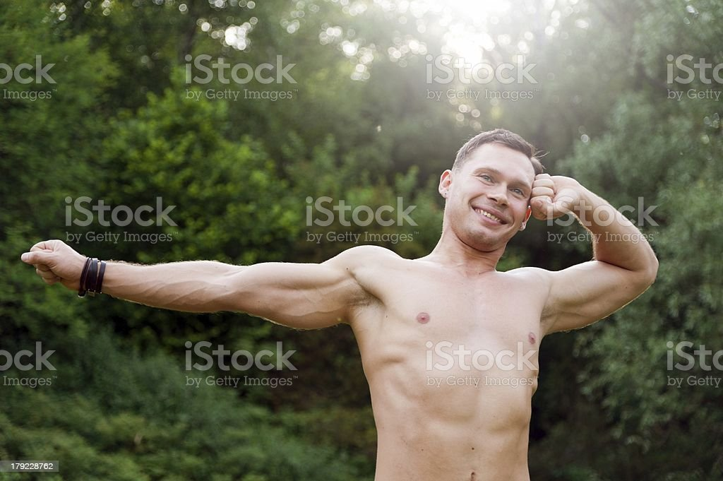 Man at morning royalty-free stock photo