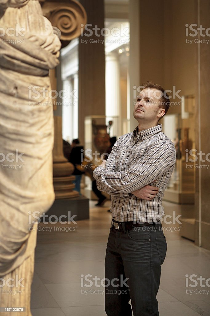 Man at Museum stock photo