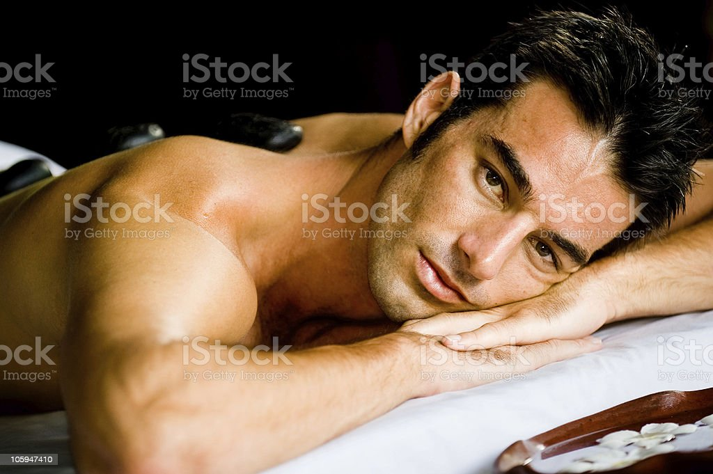Man at Spa royalty-free stock photo