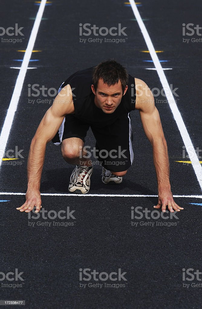 Man at Starting block royalty-free stock photo
