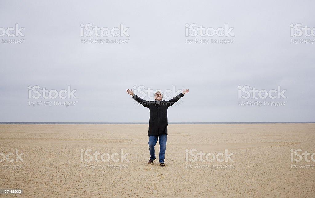 A man at the beach royalty-free stock photo
