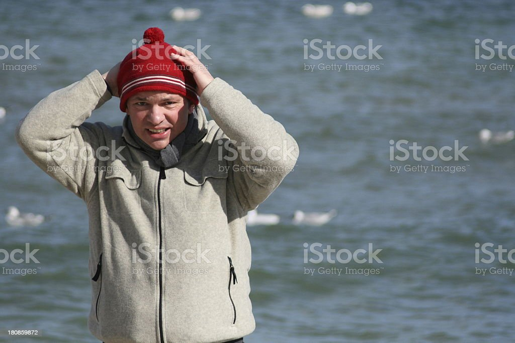 man at the sea stock photo