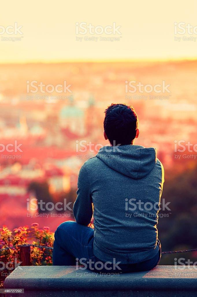 Man at the sunrise stock photo
