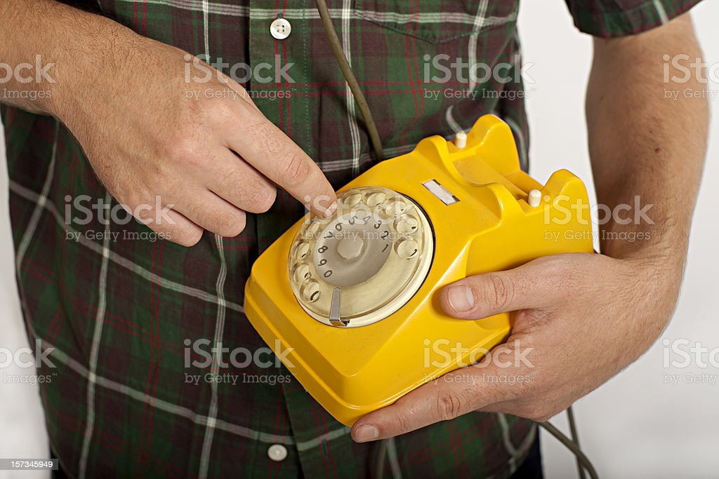 Man at Vintage Telephone royalty-free stock photo
