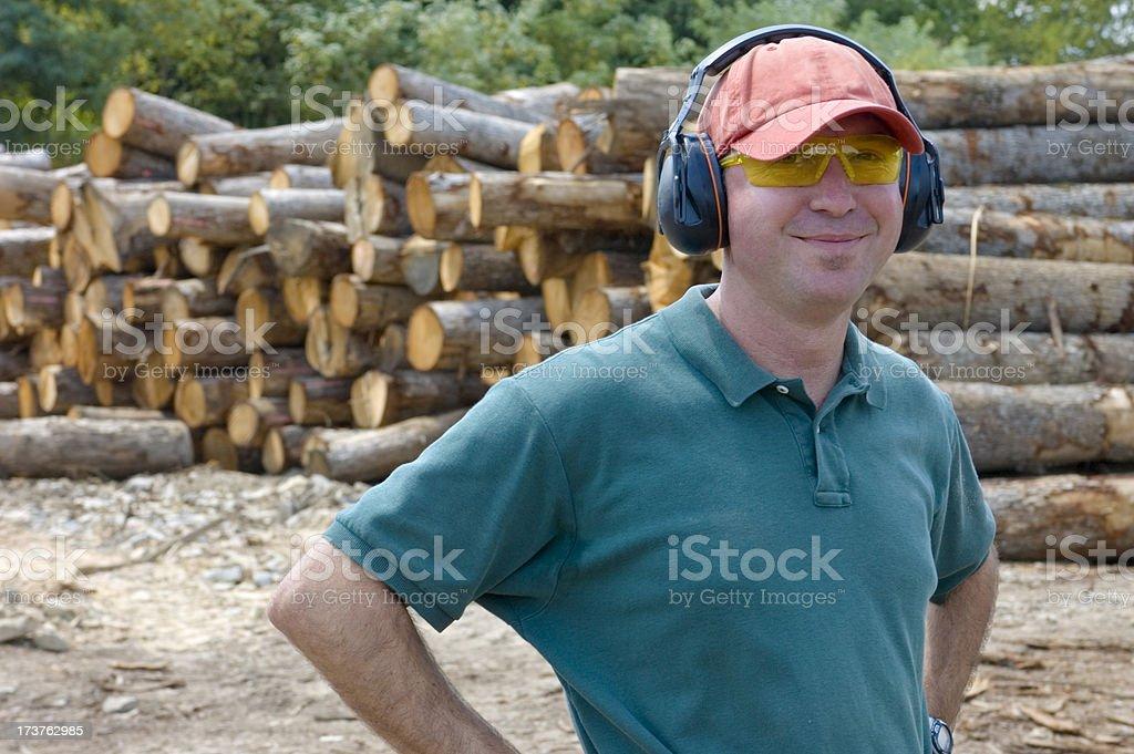 Man at Wood Mill royalty-free stock photo