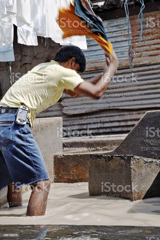 Man at work Dhobhi Ghat Laundry royalty-free stock photo