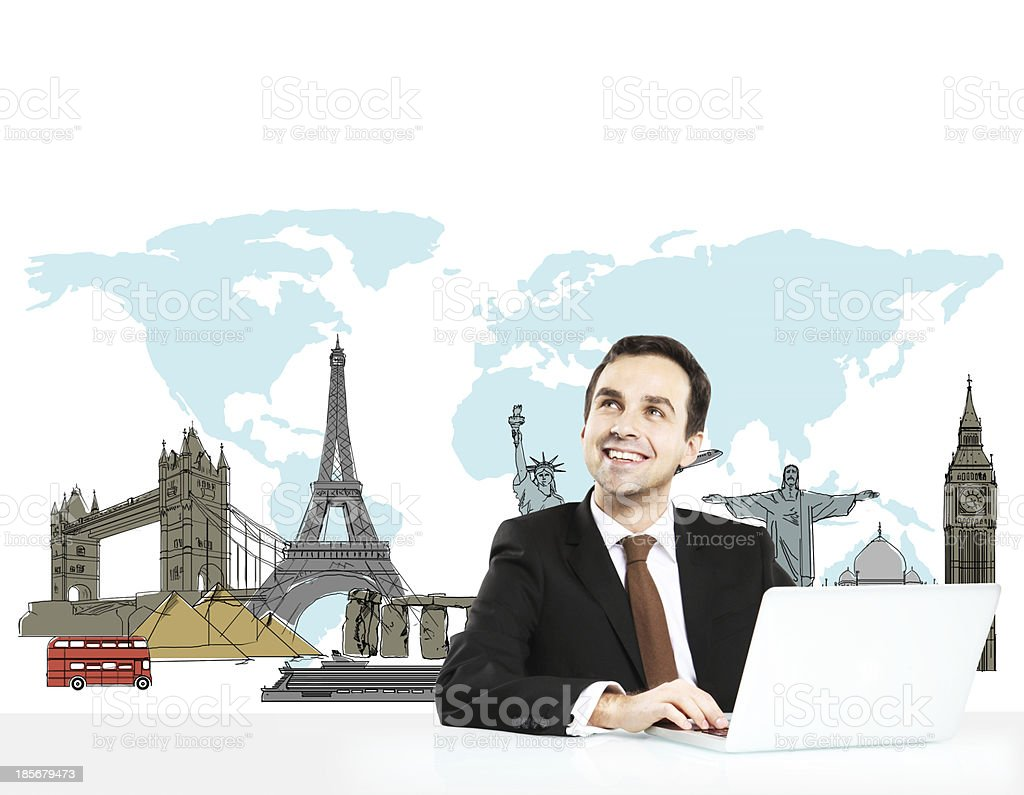 Man at work dreaming of travelling the world royalty-free stock photo