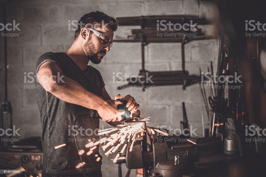 Man at work. stock photo