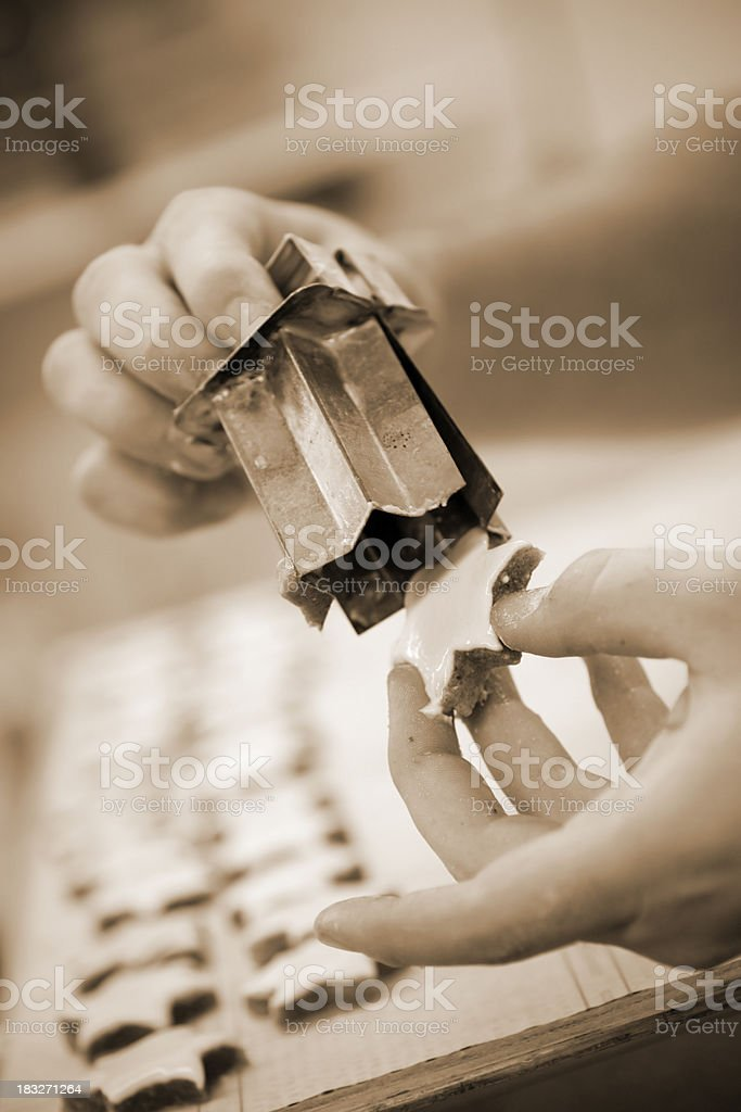 Man baking christmas cookies stock photo