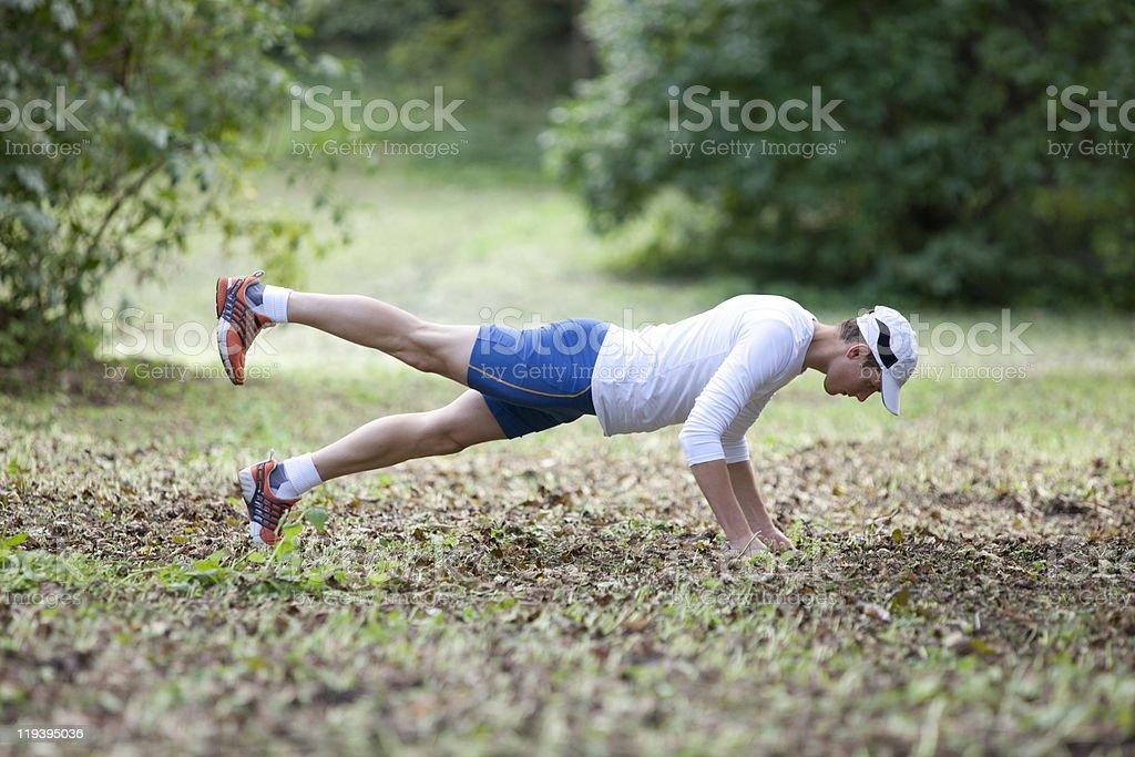 Man balancing on hands royalty-free stock photo