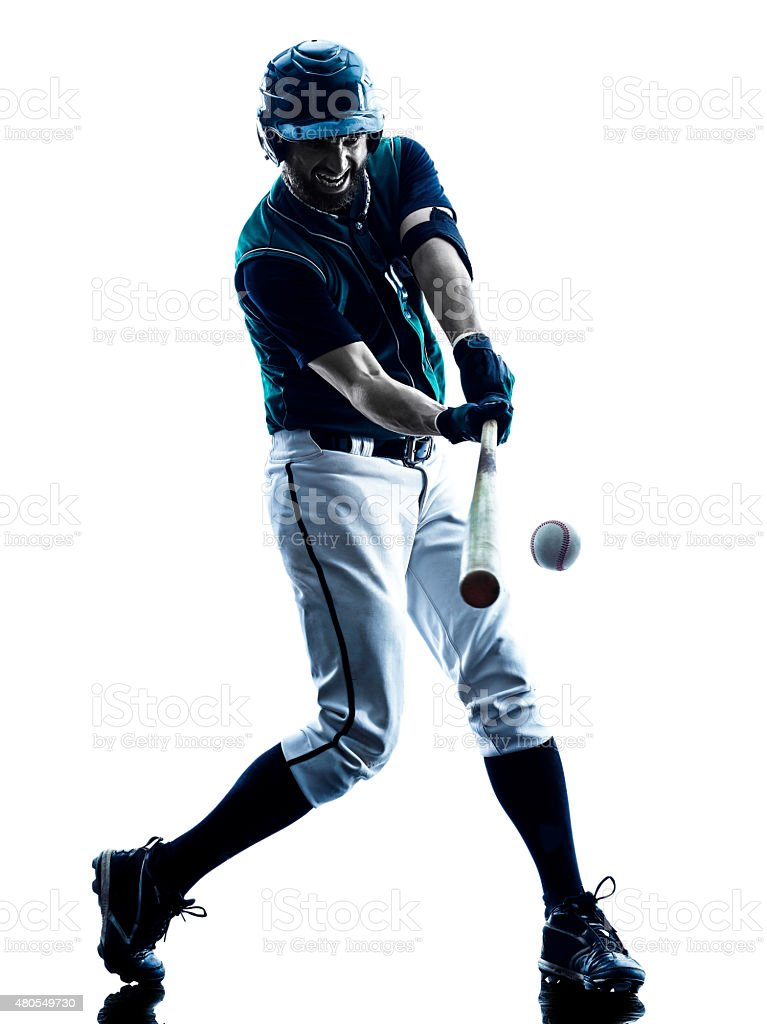 man baseball player silhouette isolated stock photo