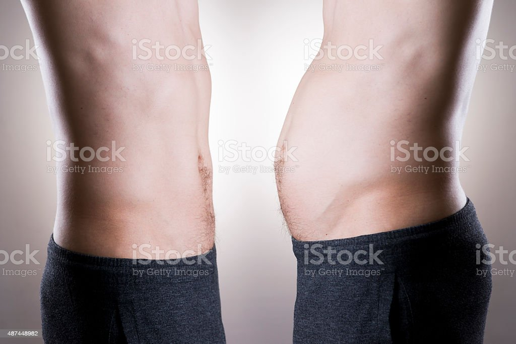 Man before and after weight loss. Fat and slim body stock photo