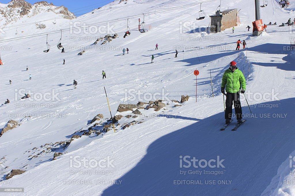 Man begin to skiing at ski station CERRO CATEDRAL stock photo