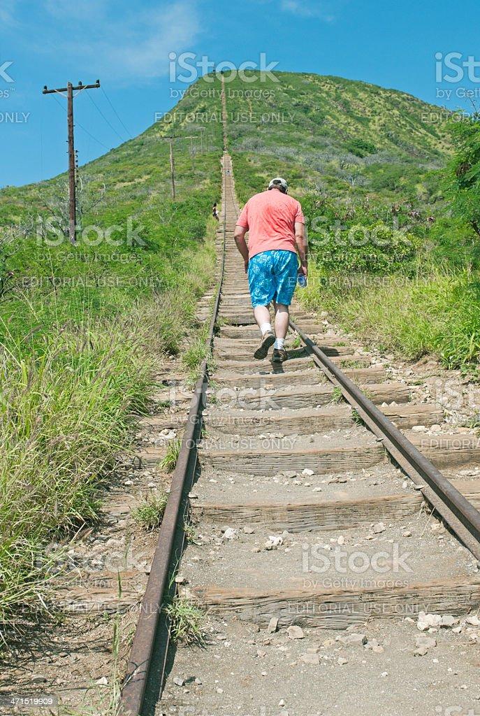 Man beginning ascent of Koko Crater on Oahu HI stock photo