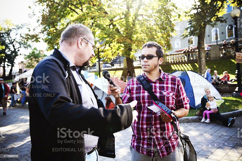 Man being interviewed stock photo