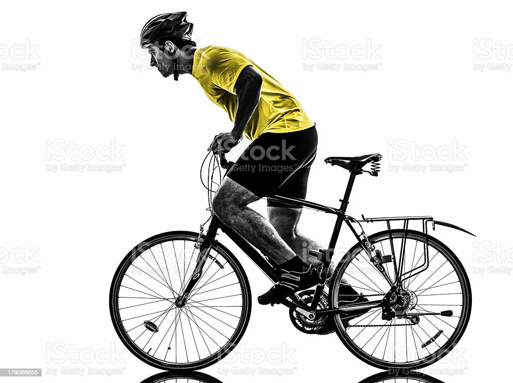 man bicycling  mountain bike silhouette royalty-free stock photo