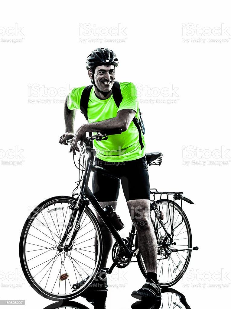 man bicycling mountain bike standing silhouette stock photo