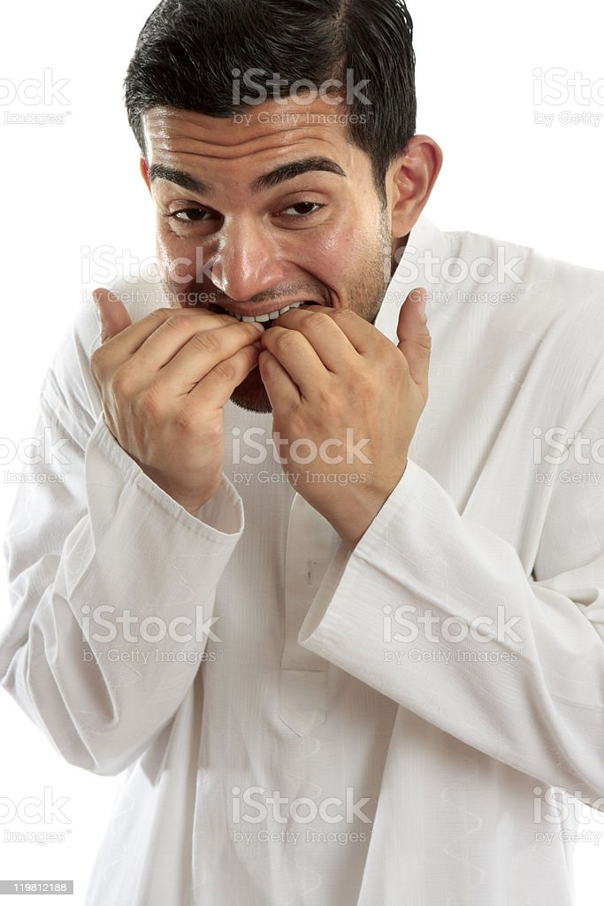 Man biting fingernails anxiety stress or terrified stock photo
