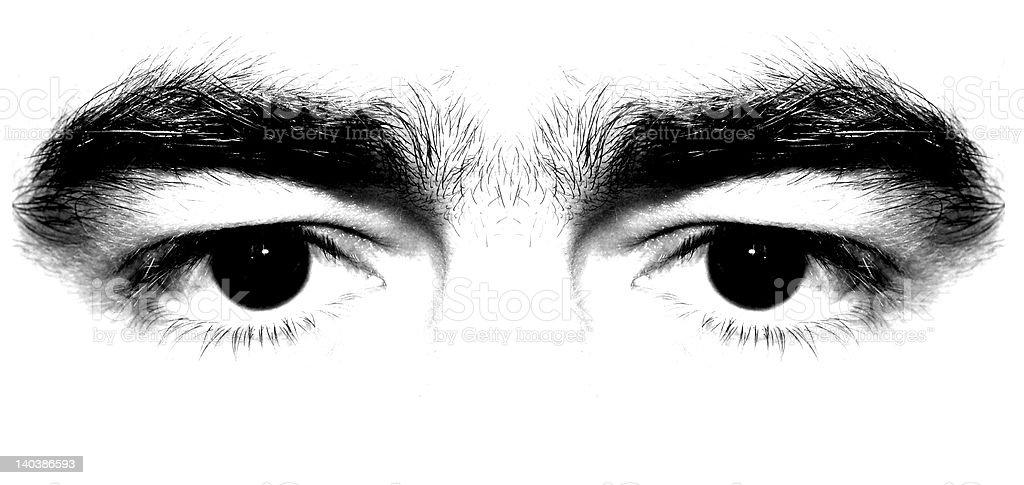 Man black eyes stock photo