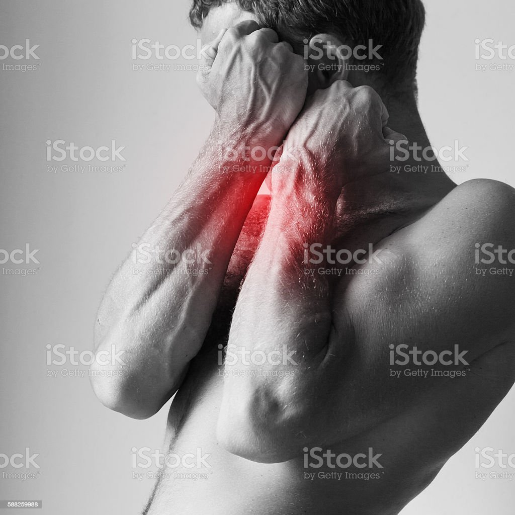 Man blocking pain with his strong hand stock photo